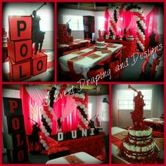Red, black and white polo baby shower