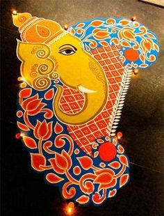 Ganesh Rangoli Designs, Ideas And Pictures For 2019 Flower Rangoli GanpatiFlower Rangoli Ganpati Indian Rangoli Designs, Rangoli Designs Latest, Simple Rangoli Designs Images, Rangoli Designs Flower, Rangoli Patterns, Rangoli Ideas, Colorful Rangoli Designs, Flower Rangoli, Beautiful Rangoli Designs
