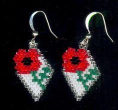 Red Poppy Flower Diamond Beaded Seed Bead Earrings by FoxyMomma