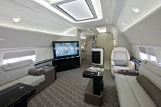 Boeing's new business jet is fit for a king. The aviation giant unveils a new private jet--a modified is geared for luxurious long-haul flights. Think multiple HD monitors and very big beds. Luxury Jets, Luxury Private Jets, Private Plane, Boeing Business Jet, Car Interior Design, Luxury Interior, Interior Office, Luxury Helicopter, Private Jet Interior