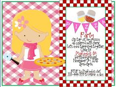 CUSTOMIZE Pretty Pizza Party Red and Pink by oneofakindkeepsakes