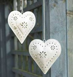 Heart Lanterns. Lucky enough to have one of these in my kitchen window. So pretty : )