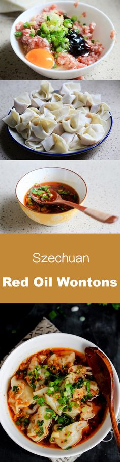 Szechuan style red oil #wontons, wonton in chili broth