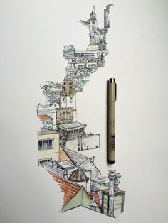 My Sketchbook Art I Drawing Happy Dreamy Wind in hair Girls Watercolor Architecture, Architecture Drawings, Art Drawings Sketches, Cool Drawings, City Sketch, Arte Sketchbook, Illustration, Watercolor Sketch, Urban Sketching