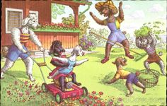 Mainzer Dogs - Mowing Lawn - Linen Post Card