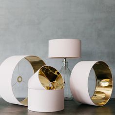 rose blush lamp shades with gold interior from graham and green