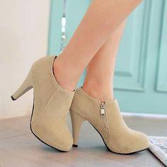 Women Round Toe Zipper High Heels Ankle Boots Stiletto Heel 1157