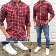 Casual Christmas Outfit 🔴👖👟🙌🏼 If you like to keep it casual on Christmas 🎄, just go with your favorite red 🔴 plaid flannel shirt, your… Casual Shirts, Casual Outfits, Fashion Outfits, Night Outfits, Holiday Outfits Christmas Casual, Stylish Men, Men Casual, Trajes Business Casual, Mode Man