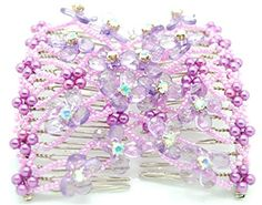 Magic Double Combs Hand-beaded Hair Clips, Hair Holder/ Ez Bow-knot Hair Comb (Purple)