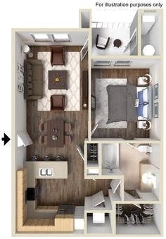 Falabella Floor Plan 743 sp ft http://www.gatewayat2534.com/