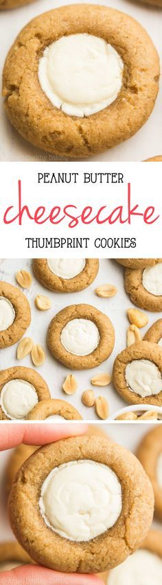 Skinny Peanut Butter Cheesecake Thumbprint Cookies -- this healthy recipe is AMAZING! So easy & just 54 calories!