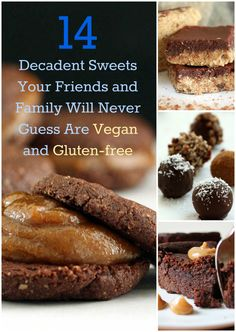 Nutritionicity | 14 Decadent Sweets Your Friends and Family Will Never Guess Are Vegan and Gluten-free! (and refined sugar-free too!) Get all the recipes at http://www.nutritionicity.com/recipes/14-decadent-sweets-your-friends-and-family-will-never-guess-are-vegan-and-gluten-free/