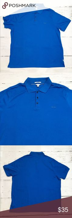 CALVIN KLEIN liquid COTTON POLO SHIRT BLUE 2XL/2TG NEW CALVIN KLEIN MEN'S 100% COTTON 2 BUTTON - POLO SHIRT BLUE Pullover Sz 2XL/2TG   Item Condition: New without tags  Brand: Calvin Klein  Size: 2XL/2TG  Color: Blue  Original Retail: $65 Calvin Klein Shirts Polos