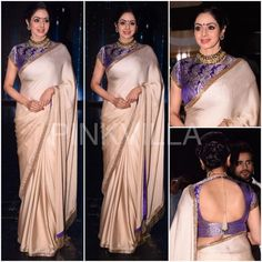 Sridevi in a Manish Malhotra saree on the sets of Nach Baliye Brocade Blouse Designs, Designer Blouse Patterns, Indian Dresses, Indian Outfits, Brocade Saree, Brocade Blouses, Silk Brocade, Georgette Sarees, Manish Malhotra Saree