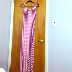 Pink striped maci dress This fun summery maxi dress is practically new and is too pretty so stay hidden in my closet any longer! Calvin Klein Dresses Maxi