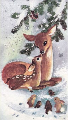 Vintage Christmas card with sweet Doe & Fawn, birds & bunnies - (holidays, Xmas, illustration, deer) Vintage Christmas Images, Old Fashioned Christmas, Christmas Scenes, Christmas Deer, Christmas Past, Christmas Animals, Retro Christmas, Vintage Holiday, Christmas Pictures