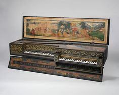 Double Virginal  Maker: Lodewijck Grouwels (Flemish, active Middelburg, Zeeland, The Netherlands 1593–1600)  Date: 1600  Geography: Middelburg, Zeeland, The Netherlands  Culture: Flemish  Medium: Pine, spruce, various materials