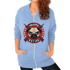 ANGRYPUGNATION Zip Hoodie (on woman)