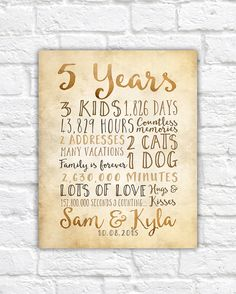 5 Year Anniversary Gifts, Rustic Sign for Wall, Anniversary Countdown Time Together in Days, Seconds, Fifth Anniversary 5 Years, 10 50 2