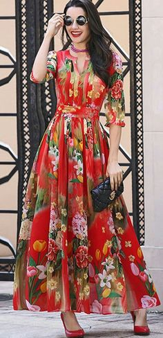 All Dresses Chiffon Floral Print Waist Maxi Dress Casual Formal Dresses, Trendy Dresses, Women's Fashion Dresses, Nice Dresses, Fashion Clothes, Boho Outfits, Evening Dresses, Summer Dresses, Mode Inspiration