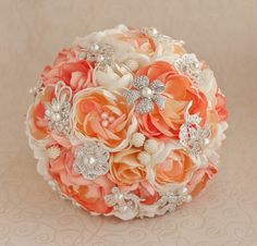 Brooch bouquet. Coral, Orange, Ivory and Silver wedding brooch bouquet, Jeweled Bouquet. by TatyanaAgulina on Etsy https://www.etsy.com/listing/218708960/brooch-bouquet-coral-orange-ivory-and