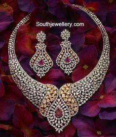 Indian jewellery designs-bridal diamond necklace
