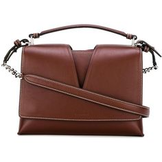 Jil Sander contrast stitching crossbody bag (5.240 BRL) ❤ liked on Polyvore featuring bags, handbags, shoulder bags, red, brown crossbody purse, red leather handbags, crossbody purses, leather crossbody and brown leather purse