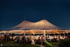 Wedding at the Ocean House, Watch Hill, Rhode Island.  Beach wedding ceremony, Sperry tented dinner, indoor ballroom reception.  Tent by Sperry tent.  Dress by Amsale.  Photography by Susan Stripling.