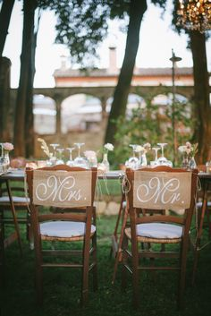 Mr. and Mrs. burlap chair backs // photo by Lelia Scarfiotti // event design by Italia Events