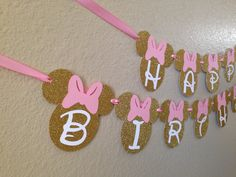 Minnie Mouse Birthday Banner, Minnie Mouse Party, Minnie Mouse Birthday, Pink and Gold Minnie by CuddleBuggParties on Etsy https://www.etsy.com/listing/246100370/minnie-mouse-birthday-banner-minnie