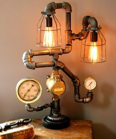 DIY: Steampunk Lamps Ideas - http://assb.dankellys.net/diy-steampunk-lamps-ideas/ : #LampsStyles Steampunk lamps ideas is a style of fashion, literature and decor that is partly historical and partly fantastic. Loosely based on the age of the industrial revolution and Victorian imagery, steampunk is famous for integrating details of old machinery as gears and pieces of copper in everyday...