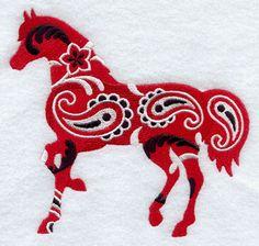 BANDANA PAISLEY HORSE ---MACHINE EMBROIDERY QUILT BLOCK (AZEB)
