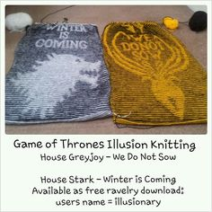 My game of thrones illusion knitting patterns available on ravelry