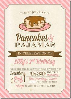 Super cute idea Pancakes & pajamas party