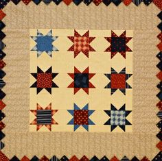 Star Block Quilts   AllPeopleQuilt.com Clever way to use Prairie Points in a border.
