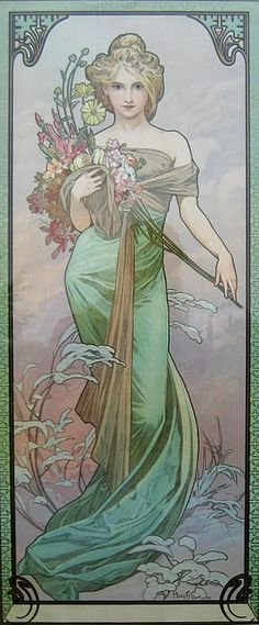 "Alphonse Mucha ""Art Nouveau ~ Le Printemps ~ by Mucha A Czech Art Nouveau painter and decorative artist, most well known for his images of women. He produced many paintings, illustrations, advertisements and designs. Art Nouveau Mucha, Alphonse Mucha Art, Illustrator, Jugendstil Design, Kunst Poster, Love Art, Vintage Art, Vintage Posters, Art History"