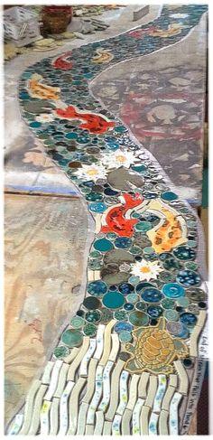 Mosaic / shaped ceramic tile koi stream