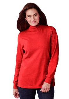 Woman Within Plus Size Top, Perfect Cotton Mockneck With Long Sleeves $5.99