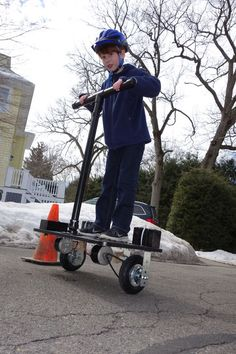 DIY Segway  http://www.instructables.com/id/Rideable-Segway-Clone-Low-Cost-and-Easy-Build/