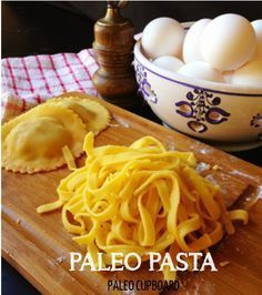 Paleo pasta: - 2/3 cup arrowroot powder (plus extra for kneading) - 1 cup almond flour (I use Honeyville brand because I find it to be the most finely ground) - 1 cup tapioca flour (make sure to find a brand that is gluten-free, some brands sneak in wheat products!) - 2 tsp. sea salt - 2 large eggs - 4 egg yolks (from large eggs)  - 2 Tbsp olive oil (for cooking the pasta)
