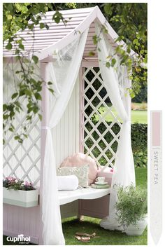 Enjoy your garden view from the comfort of this serene Sweet Pea and Pale Jasmine pavilion. #CuprinolGardenShades