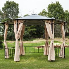 Wedding Outdoor Gazebo Curtains 62 New Ideas Hot Tub Gazebo, Backyard Gazebo, Diy Gazebo, Outdoor Gazebos, Outdoor Structures, Gazebo Curtains, Modern Gazebo, Large Gazebo, Patio Wedding