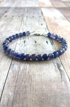Iolite Bracelet, Purple Bead Bracelet, Lavender Blue Women's / Men's Jewelry, Small Stone Gemstone Bracelet, Sterling Silver Clasp