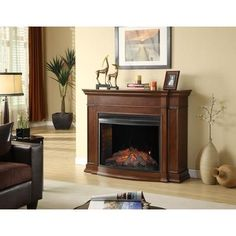 Muskoka - Soames Electric Fireplace, 33 Inch Curved Firebox, Cherry
