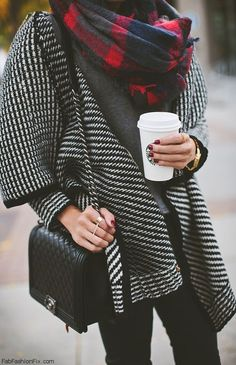 Wrap up in plaid print scarf for winter street style. #plaid #scarf