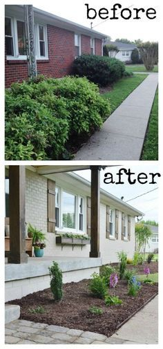 Curb appeal makeover by painting the house, adding shutters and window boxes, and refreshing the landscape.