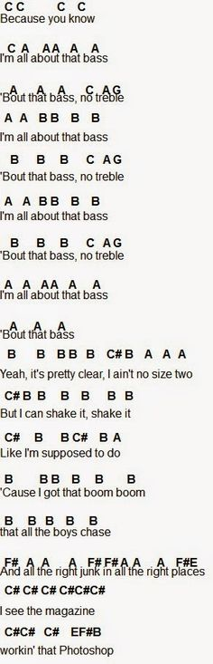Flute Sheet Music: All About That Bass part Maybe can be used for piano?>> yeah I'm pretty sure it can be used for piano Clarinet Sheet Music, Bass Clarinet, Violin Music, Recorder Music, Piano Sheet Music, Music Sheets, Cello, Song Notes, Piano Songs