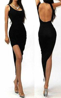 Black Classy Draped Open Back Lightweight Jersey Knit Cocktail Party Dress M