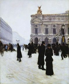 Outside The Paris Opera House ~ Jean Georges Béraud ~ (French: 1849-1935)