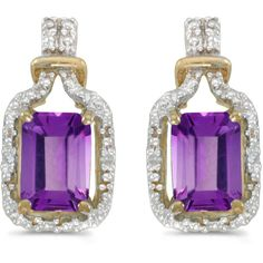 14k Yellow Gold Emerald-cut Amethyst And Diamond Earrings (11 125 UAH) ❤ liked on Polyvore featuring jewelry, earrings, 14k gold jewelry, gold jewelry, 14 karat gold earrings, amethyst earrings and 14k diamond earrings
